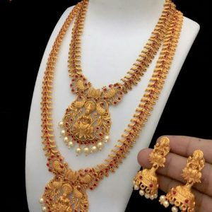 Antique Lakshmi Design Two Layer Pearl Jewelry with Earrings