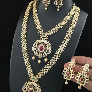 Antique Two Layered American Diamond Stone Jewelry Set with Earings